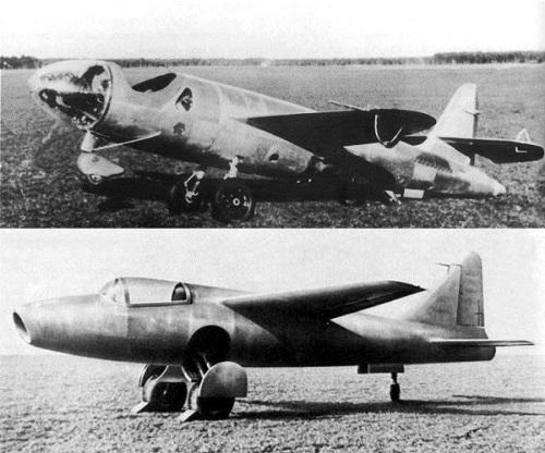 Два разных пути полёта на реактивной тяге. Ракетный He-176 (сверху) и турбореактивный He-178