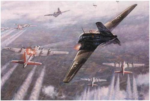 """Ме-163В атакуют армаду """"летающих крепостей"""""""