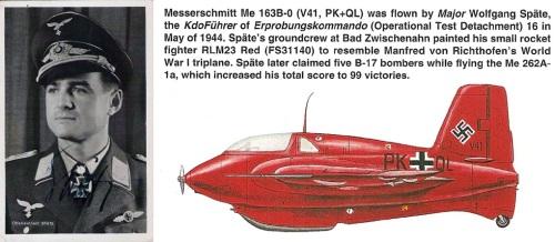 Вольфганг Шпате - командир первого боевого подразделения Ме-163