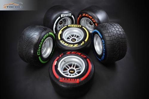 Типы и маркировка шин Pirelli в 2013 году: красный SuperSoft, жёлтый Soft, белый Medium, оранжевый Hard, зелёный Intermediate, синий Wet